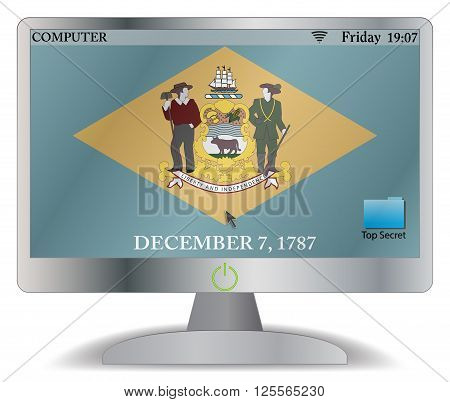 A Delaware computer screen with an on button isolated on a white background