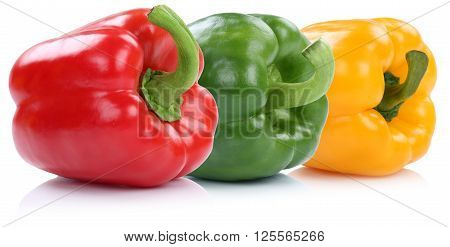 Collection Of Bell Pepper Peppers Paprika Paprikas In A Row Organic Vegetable Isolated On White