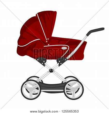 illustration of red child pram, baby carriage or stroller isolated on white background