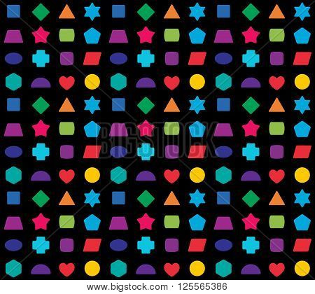 Kid Toy Geometrical Shapes Colorful Seamless Pattern.
