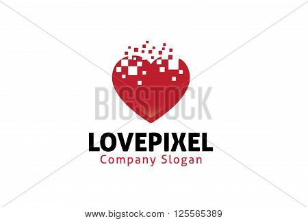 Love Pixel Creative And Symbolic Logo Design Illustration