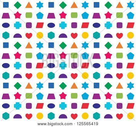 Colorful Kids Seamless Pattern Background. Color Shapes For Learning Games.