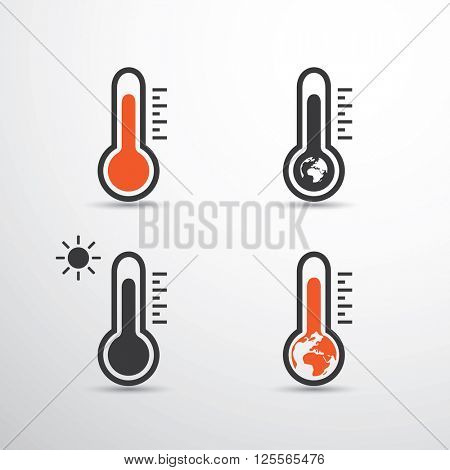 Thermometer Icon Designs - Global Warming, Ecological Problems, etc.