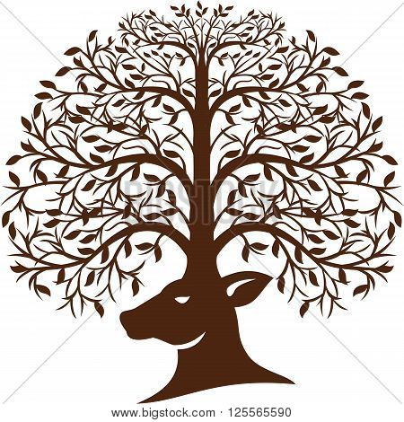 Illustration of a deer head viewed from the side with antler made of trees branches and leaves set on isolated white background done in retro style.