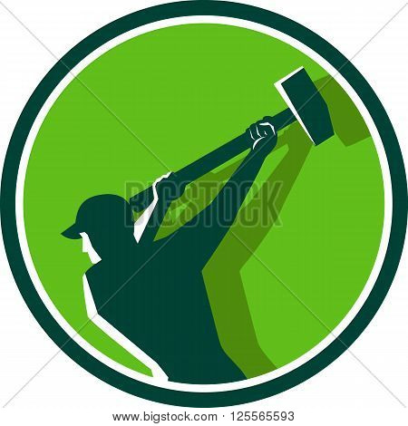 Illustration of a demolition worker wearing hat swinging sledgehammer viewed from rear set inside circle done in retro style.
