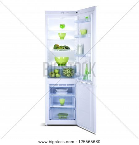 White open fridge freezer isolated on white