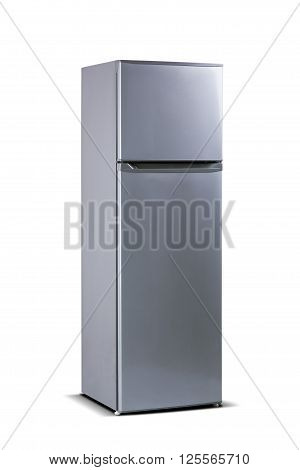 Gray fridge freezer, refrigerator isolated on white