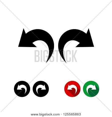 Undo And Redo Arrows Black Icon Set