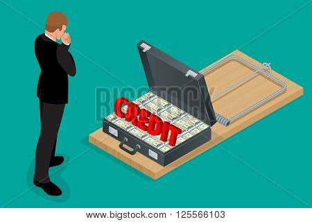 Businessman thinking about credit. Style money isometric. Credit loan trap concept. Mousetrap with Lot of money in a suitcase.