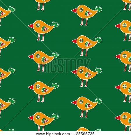 Small orange hand drawn bird seamless pattern on a green background. The cartoon bird with a big red beak. Vector illustration
