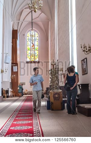 Kaliningrad, Russia - July 1, 2010: Inside view of cathedral on kant island