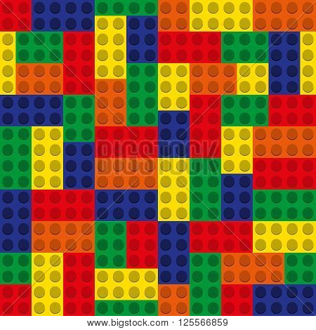 seamless pattern - a set of multicolored blocks of the designer. vector illustration
