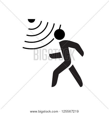 Walking Man Symbol With Motion Sensor Waves Signal.