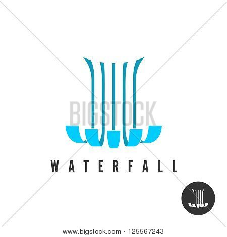 Waterfall Logo. Parallel Lines Water Wloods Falling.