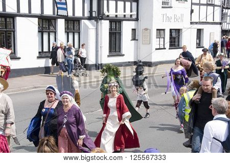 Tewkesbury, UK - July 17, 2015: The first ever Tewksbury Medieval Festival Parade on 17 July 2015 at Church Street, Tewkesbury
