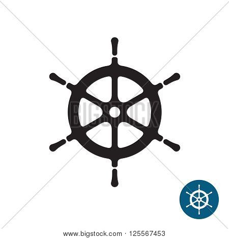 Ship Helm Black Silhouette Icon. Yacht Boat Rudder. Isolated On A White Background.