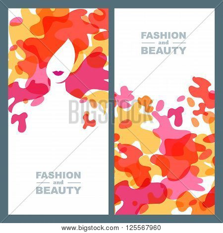 Woman With Colorful Hair. Set Of Vector Label, Banner, Poster Design.