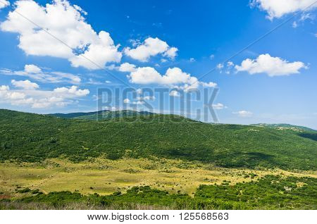 Panoramic view of Pešter plateau landscape in southwest Serbia