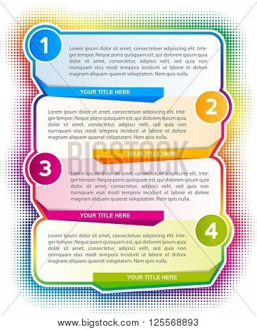 Vector infographic four steps background with a color spectrum and with place for text