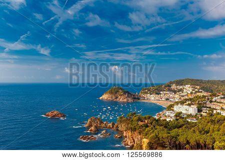 Aerial view of Badia de Tossa bay in the summer morning, Tossa de Mar, Costa Brava, Catalunya, Spain