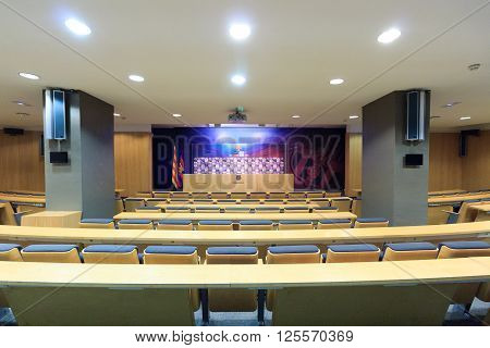 Barcelona, Spain - November 12, 2015: Football stadium Camp Nou press conference room. The stadium has been the home of FC Barcelona since its completion in 1957.