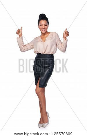 Happy successful mixed race caucasian - african american business woman giving double thumb up, isolated on white background