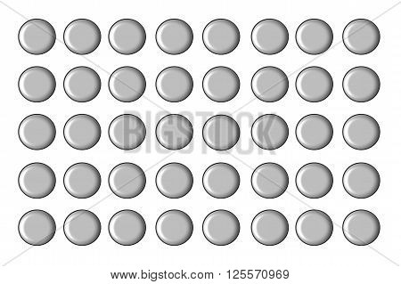 Round Button series Button Set Unlabeled and gray against white background.