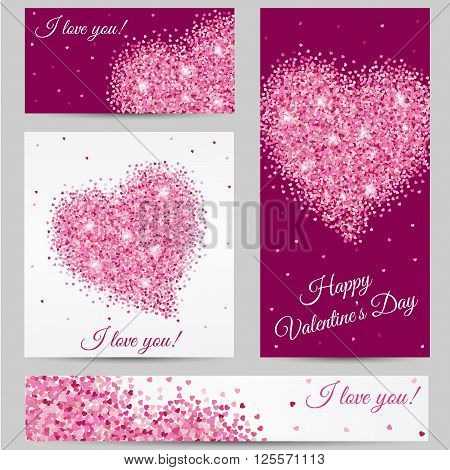 Romantic card. Romantic Heart. Happy Valentines Day card. Postcard, heart, red heart in love banner, I love you