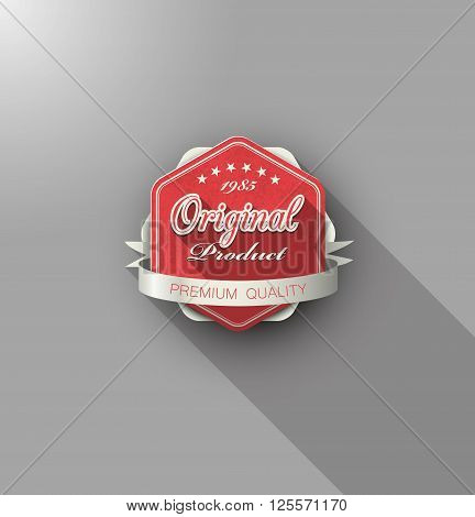 Isolated original product label premium quality with long shadow