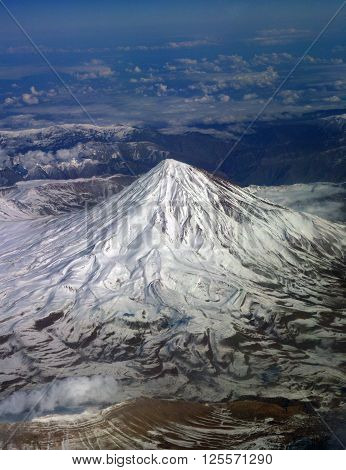 Top of the mountain view from the airplane.