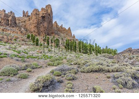 A narrow path leads from lava fields to sharp rocks surrounding the Caldera of the volcano Teide on Tenerife.