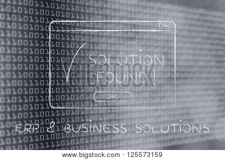 Pop-up With Text Solution Found, Caption Erp & Business Solutions