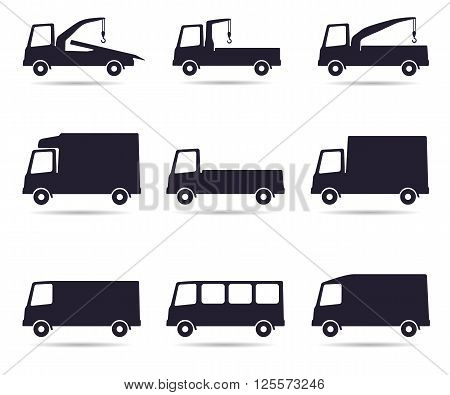 Truck icon set, vector illustration isolated on white