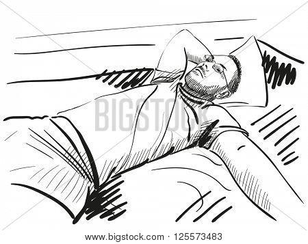 Sketch of man resting on bed, Hand drawn illustration