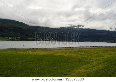 Typical green Norwegian landscape in Voss village