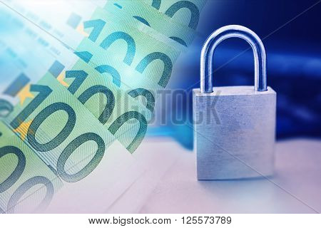 Safe Payment Technology Concept Photo with Cash Money and Metal Padlock.