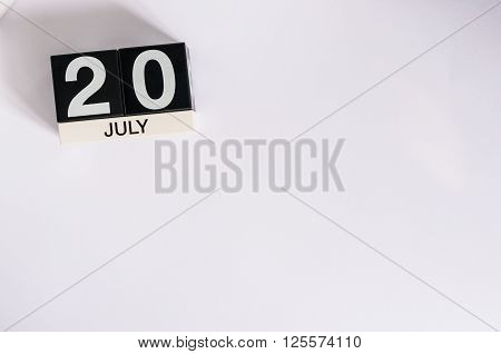 July 20th. Image of july 20 wooden color calendar on white background. Summer day. Empty space for text. International Chess Day.