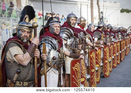 Rome Italy - April 10 2016: Gladiators in line at the Rome Marathon in 2016.