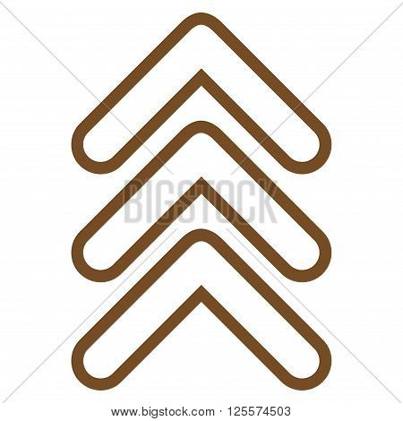 Triple Pointer Up vector icon. Style is stroke icon symbol, brown color, white background.