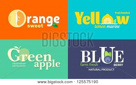 Set of colored logos on the theme of fruits and vegetables. For vegetable shops, vegetarian restaurants and cafes, delivery of fruit and vegetable farms. Vector Illustration