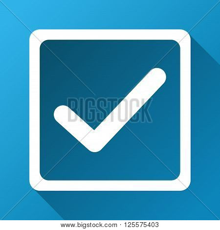 Checkbox vector toolbar icon for software design. Style is a white symbol on a square blue background with gradient long shadow.