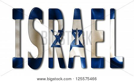 Israel word with a bevelled flag texture on an isolated white background with a clipping path with and without shadows