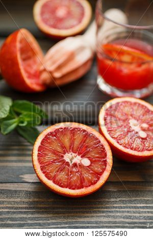 Red Oranges. Bloody Sicilian Oranges. Cooking Fresh Juice. Selective Focus