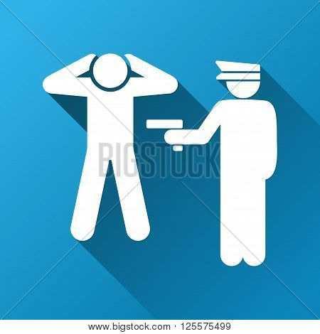 Criminal Arrest vector toolbar icon for software design. Style is a white symbol on a square blue background with gradient long shadow.