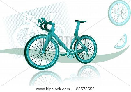 woman bike.bicycle background . bike on a dark backgroundwith abstract whells