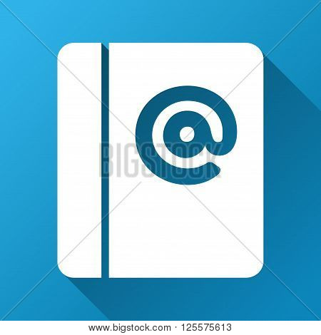 Emails vector toolbar icon for software design. Style is a white symbol on a square blue background with gradient long shadow.