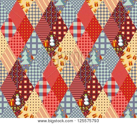 Seamless patchwork pattern for Christmas. Quilting of rhombus different patches. Vector illustration.