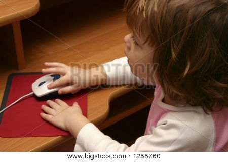 Little Girl And Computer