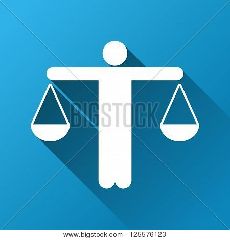Lawyer vector toolbar icon for software design. Style is a white symbol on a square blue background with gradient long shadow.