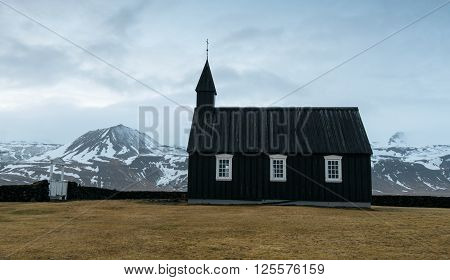 Famous black church of Budir at Snaefellsnes peninsula region in Iceland